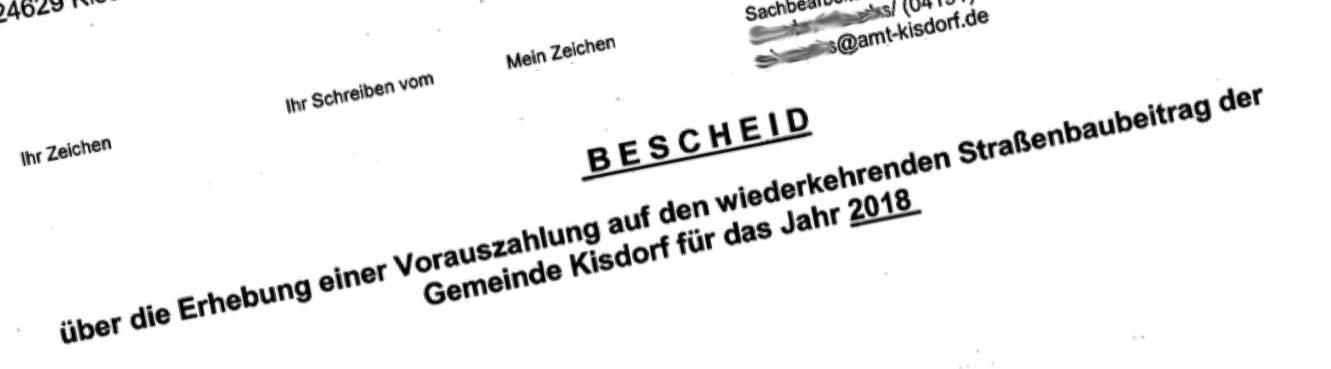 Kisdorf: Bescheid Straßenbaubeiträge