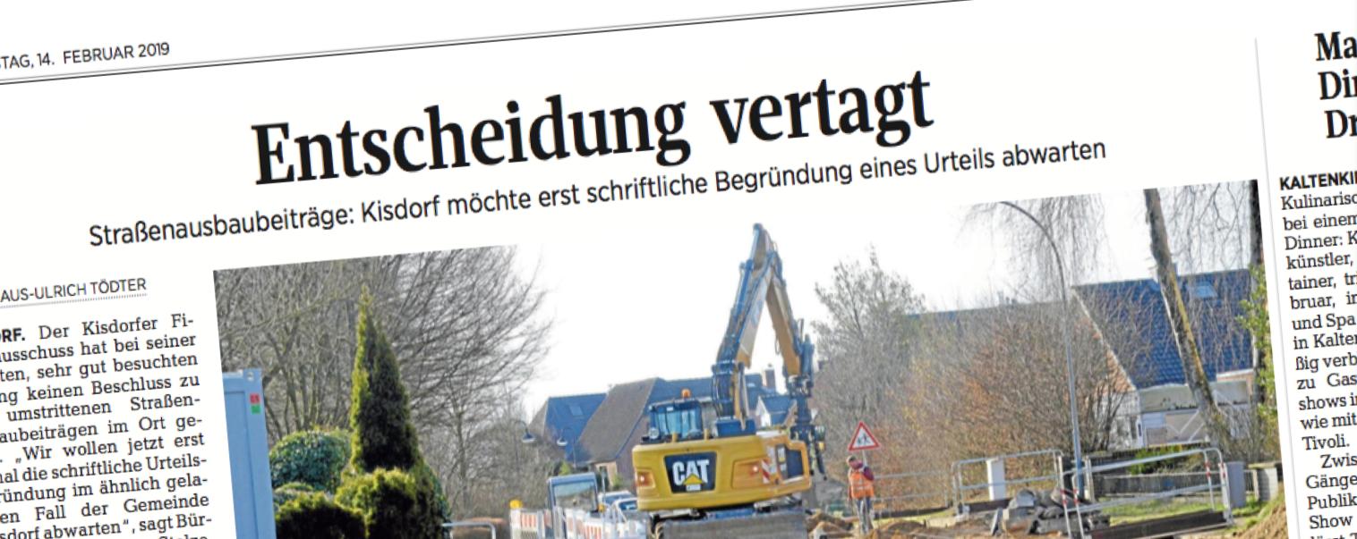 Artikel zum Straßenausbau in Kisdorf